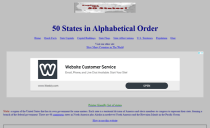 50statesinalphabeticalorder.com website. 50 States in Alphabetical on