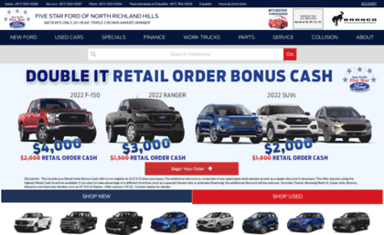 Five Star Ford North Richland Hills >> 5starford Com Website Five Star Ford New Used Ford Dealership