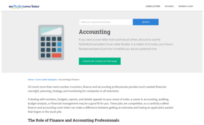 Accountingmyperfectcoverletter Website Leading Accounting