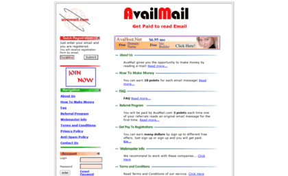 Avamail com website  Avail - Mail - Make money  Get paid to