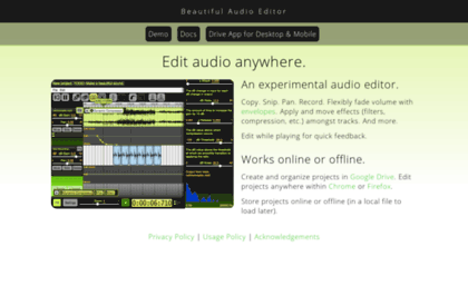 Beautifulaudioeditor appspot com website  Beautiful Audio Editor
