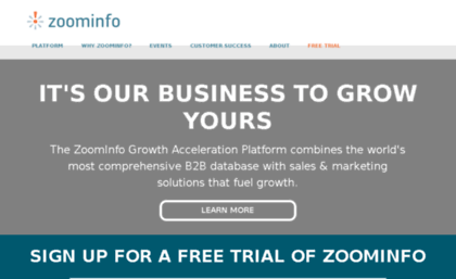 Cache.zoominfo.com website. B2B Database of Detailed & Accurate ...