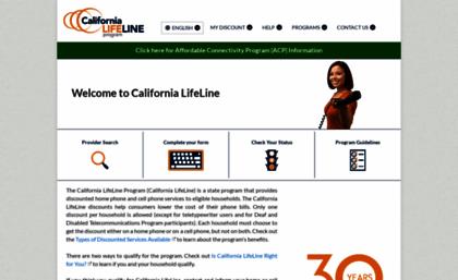 Californialifeline.com website. Home Page - California LifeLine.
