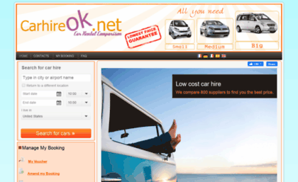 Carhireok Net Website Car Hire Search And Book Low Cost Your Car