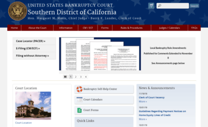 courts.gov website. Southern District of California