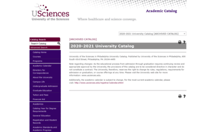 Usciences Academic Calendar.Catalog Usciences Edu Website University Of The Sciences In