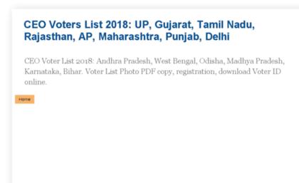 Ceovoterlist.in website. CEO Voters List 2018: UP, Gujarat, Tamil Nadu,  Rajasthan, AP, Maharashtra, Punja....