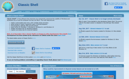 Classicshell sourceforge net website  Classic Shell - Start