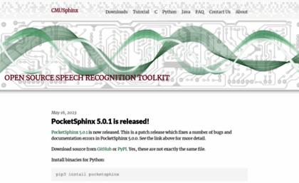 Cmusphinx sourceforge net website  CMUSphinx Open Source Speech
