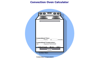 convection oven time calculator. Black Bedroom Furniture Sets. Home Design Ideas