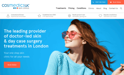 Cosmedics co uk website  BOTOX fillers mole removal with Cosmedics