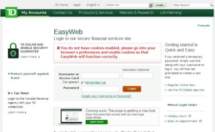 Easyweb td com website  TD Login