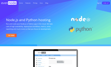 Evennode com website  EvenNode - Node js and Python web hosting