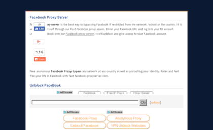 Facebook-proxyserver com website  Facebook proxy server
