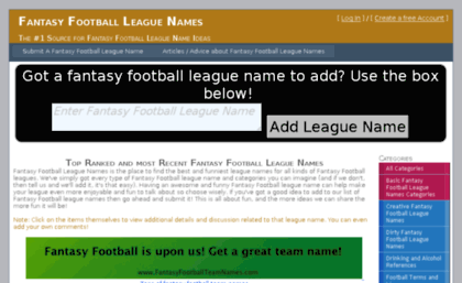 Fantasyfootballleaguenames Com Website Fantasy Football League