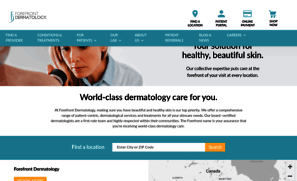 Forefrontdermatology com website  For a Lifetime of Healthy