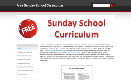 Freesundayschoolcurriculum weebly com website  Free Sunday