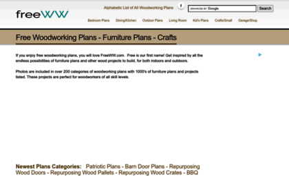 Freeww Com Website Free Woodworking Plans Furniture Plans