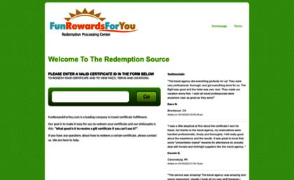 funrewardsforyou com website redeem your vacation certificates