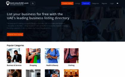 Getlisteduae com website  Free local business listing site UAE