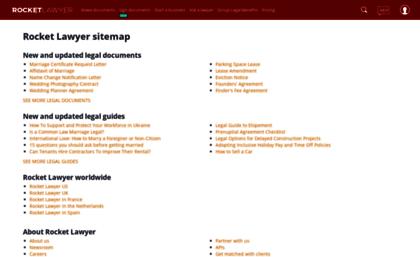 Go rocketlawyer com website  Rocket Lawyer Site Map