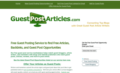 Guestpostarticles com website  Free Guest Posting Service to