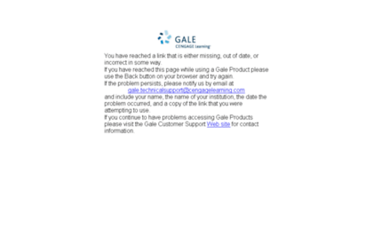 Ic.galegroup.com website. Gale Error Page.