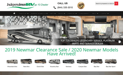 Independencervcom website Independence RV Newmar Motorhome