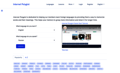 Internet Polyglot  Free language lessons online Learn