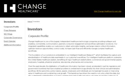 Investors emdeon com website  Change Healthcare | Investors