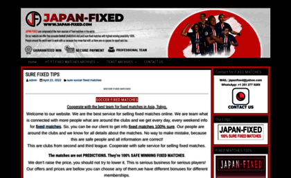 Japan-fixed com website  BEST FIXED TIPS 100% SURE WIN MATCHES