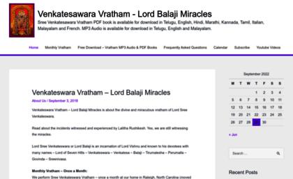 Lordbalajimiracles com website  Venkateswara Vratham – Sree