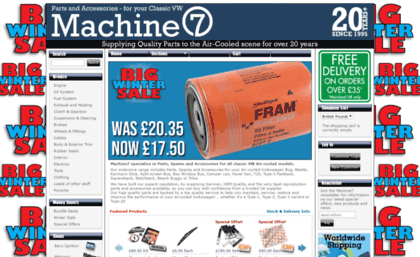Machine7 com website  Machine7 - Classic VW Parts and Spares