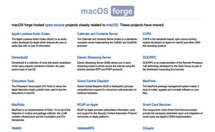 Macosforge org website  MacOS forge