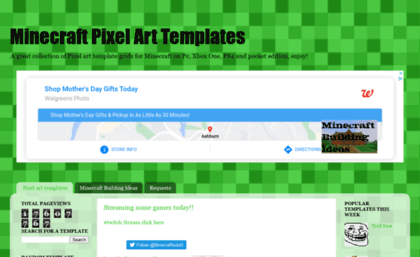 Minecraftpixelarttemplates com website  Minecraft Pixel Art