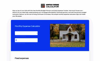 Monthlyexpensecalculator website Monthly ExpenseBudget – Monthly Expense Calculator
