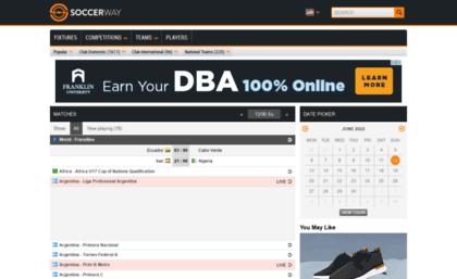 My soccerway com website  Live scores, results, fixtures, tables