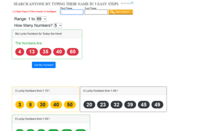 Myluckynumber net website  What are My Lucky Numbers Today?