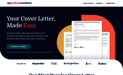 Myperfectcoverletter Website Build Your Cover Letter