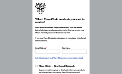 Newslettersignup mayoclinic com website  Mayo Clinic medical