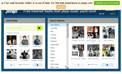 Noadradio com website  Free Music Online - Internet Radio - Jango