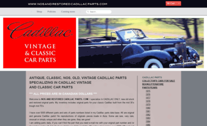 Nosandrestoredcadillacparts com website  NOS and RESTORED Cadillac