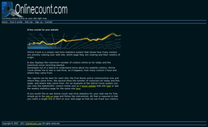 Onlinecount com website  Online Count - counting visitors and