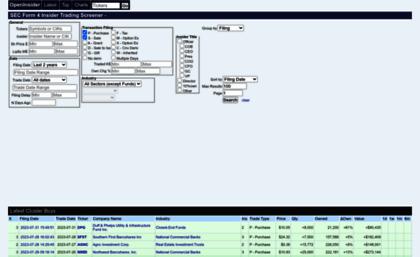 Sec Form 4 >> Openinsider Com Website Sec Form 4 Insider Trading Screener
