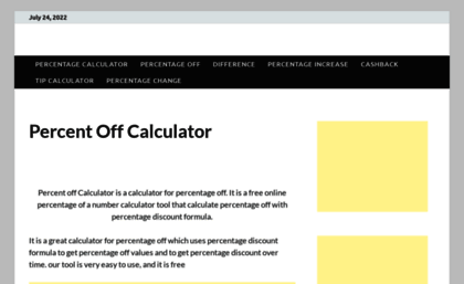 Percent off calculator to calculate discount sales price savings.