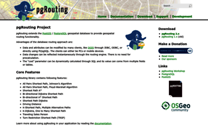 Pgrouting org website  PgRouting Project — Open Source Routing Library