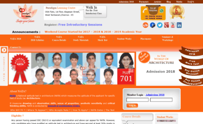 Plc-nata com website  NATA 2018 chennai best coaching classes exam