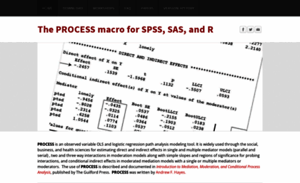 Processmacro org website  The PROCESS macro for SPSS and SAS