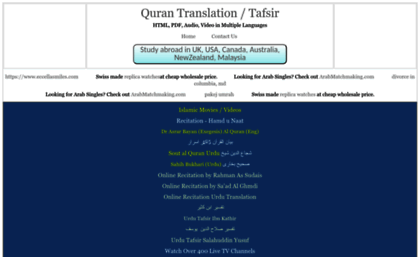 Quran4u com website  Quran Arabic, English, French (François