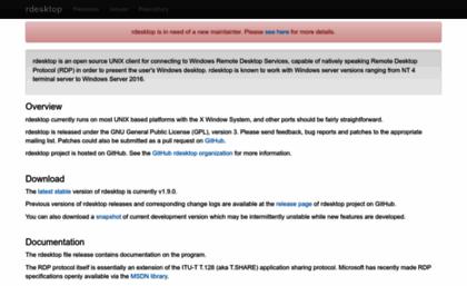 Rdesktop org website  Rdesktop: A Remote Desktop Protocol Client